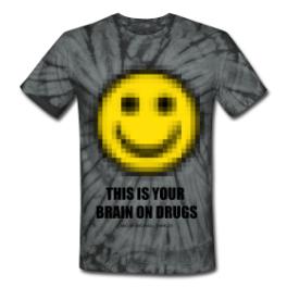 Brain On Drugs tie dye tee by Michael Shirley