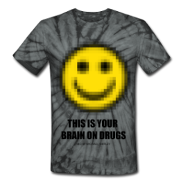 Brain On Drugs tie dye tee by Michael Shirley