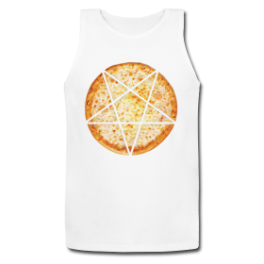 Evil Pizza mens tank top by Michael Shirley