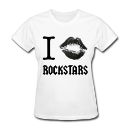 I Kiss Rockstars womens tee by Michael Shirley