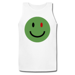 Zombie Smiley Face mens tank top by Michael Shirley